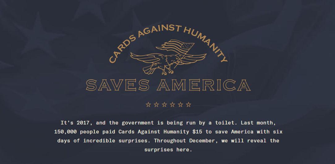 The banner at the top of  cardsagainsthumanitysavesamerica.com .