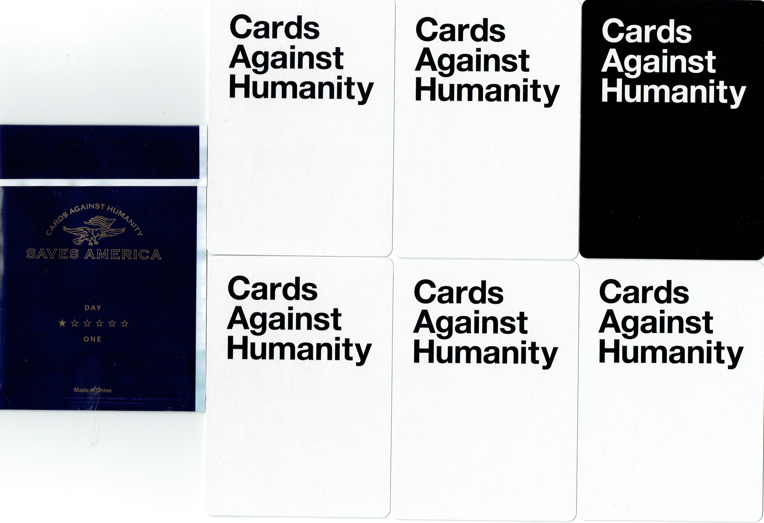 """Cards Against Humanity Saves America Day One """"CAH Stops The Wall"""" card pack. (backs)"""