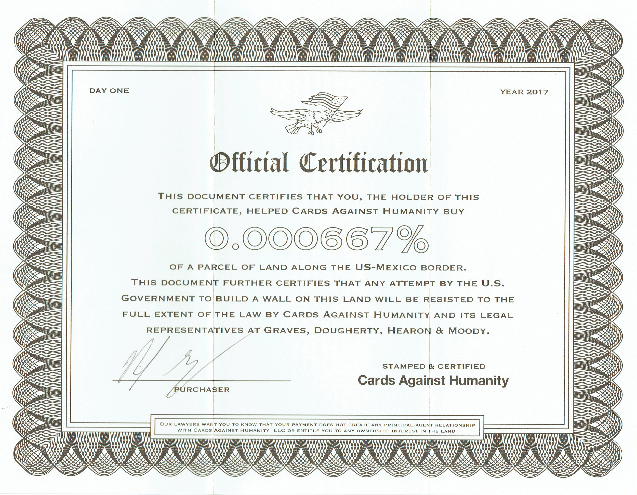Cards Against Humanity Saves America Day One certificate of purchase.