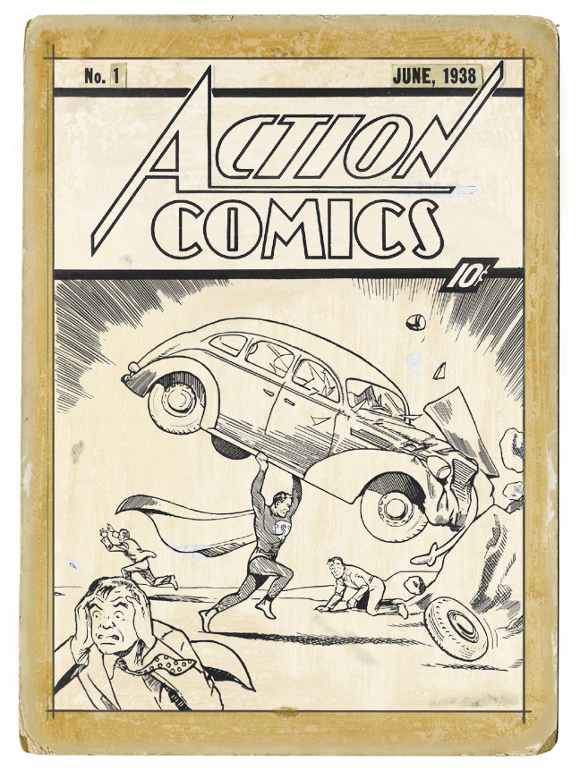 The original cover art for Action Comics #1 by Joe Shuster.