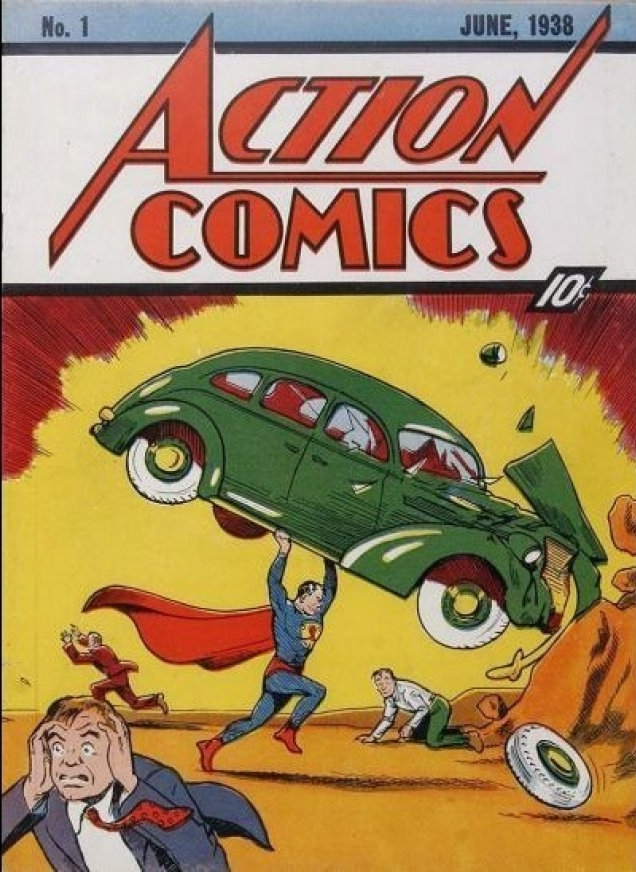 The final cover art for Action Comics #1.