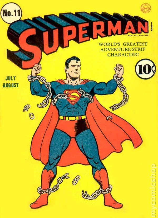 Superman #11 released in July 1941. Cover by Fred Ray.