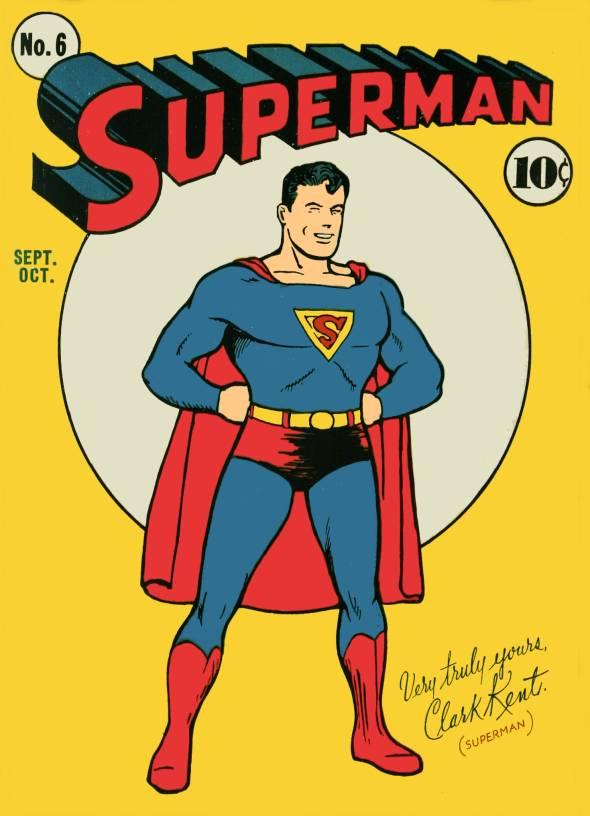 Superman #6 released in September 1940. Cover by Joe Shuster.