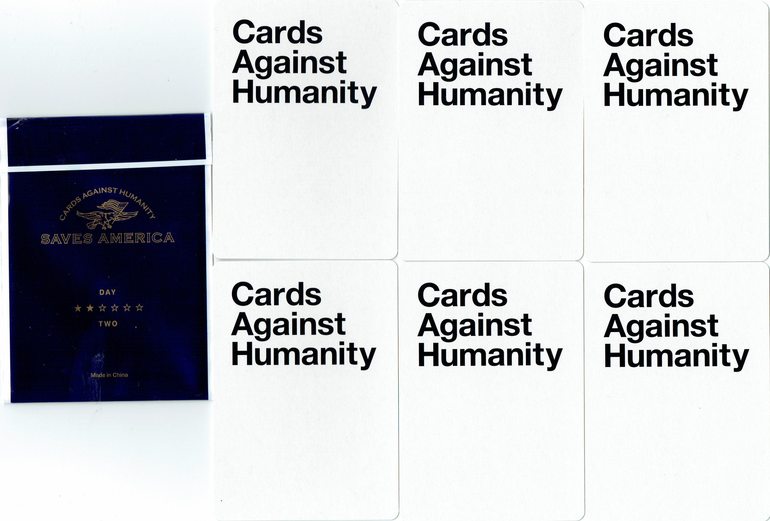Cards Against Humanity Saves America Day Two Cards (backs)