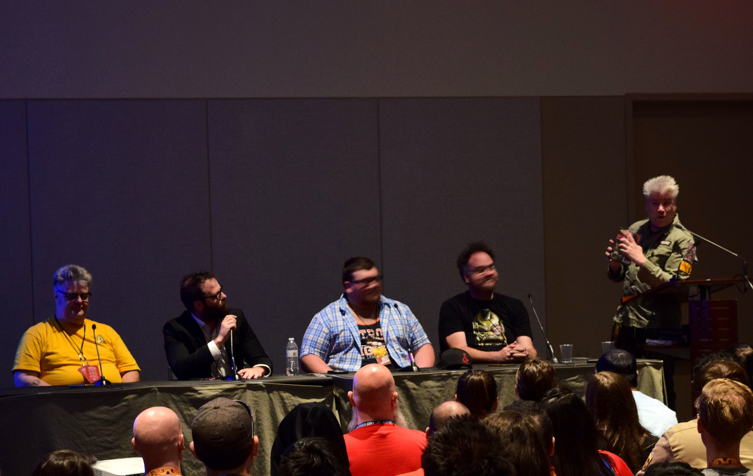 Paul Goebel, T.J. Chambers, Tommy Bechtold, Jon Schnepp, and Chris Gore in the Film Threat panel at Phoenix Comic Con 2017. (2)