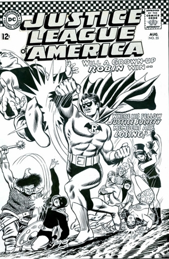 Carmine Infantino and Murphy Anderson original cover art for Justice League of America #55.