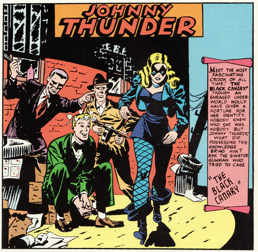 A panel from Flash Comics #86 featuring Black Canary and Johnny Thunder by Carmine Infantino.