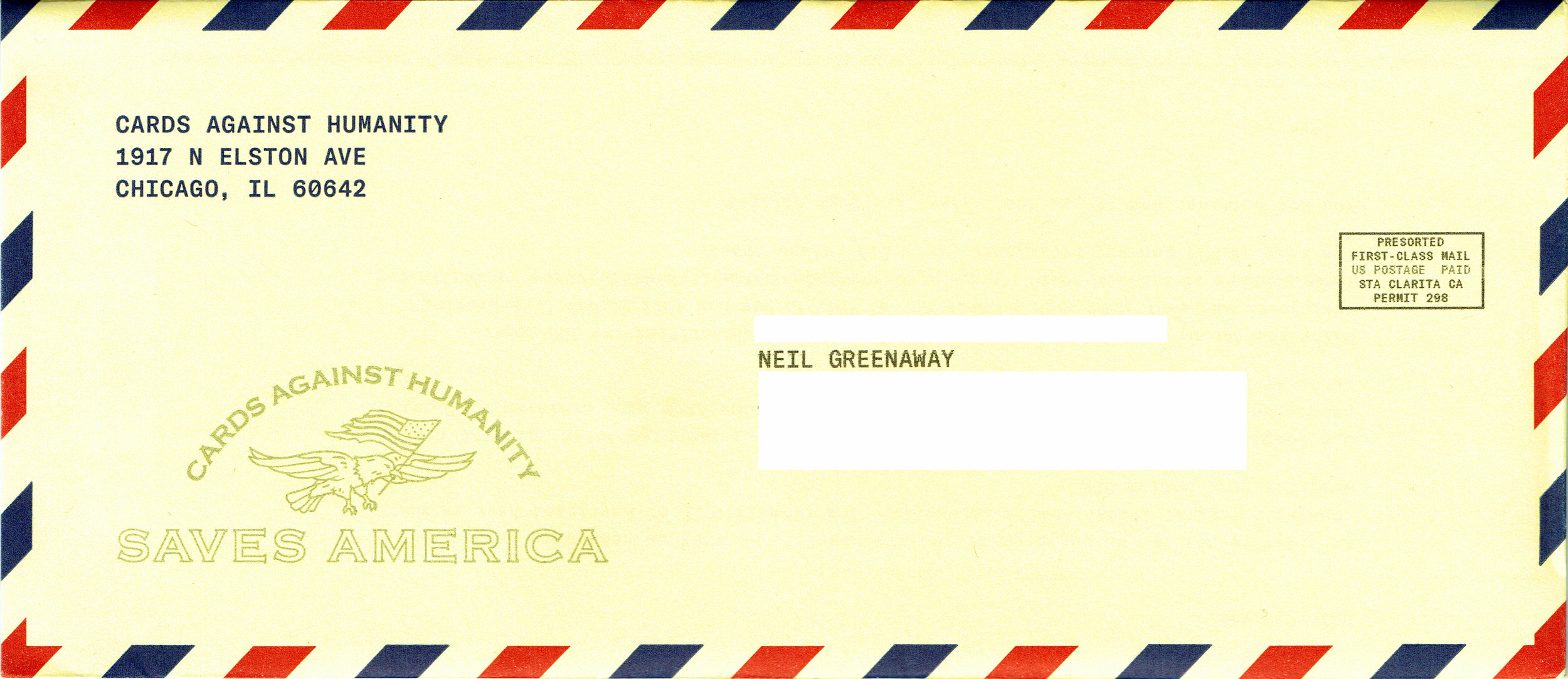 Cards Against Humanity Saves America - Day 3 Envelope