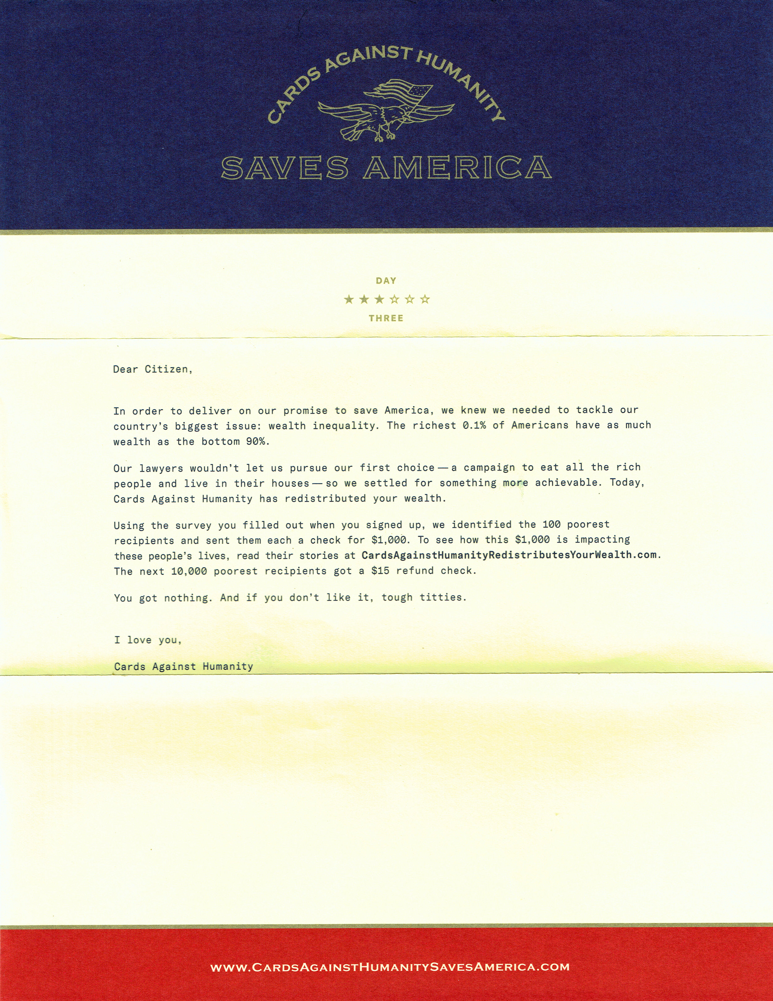 Cards Against Humanity Saves America - Day 3 Cover Letter
