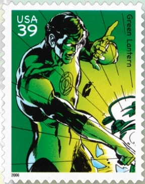 Green Lantern stamp issued in 2006. Art by Neal Adams.