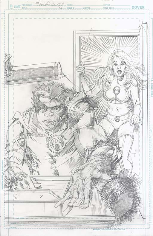 Starfire (2015) #9 original cover pencils by Neal Adams.