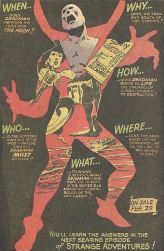 An ad for Deadman featuring art from Neal Adams.