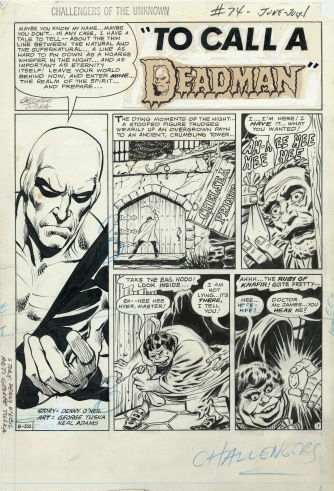 Original pencils for a Challengers of the Unknown (1958) #74 splash page by Neal Adams.