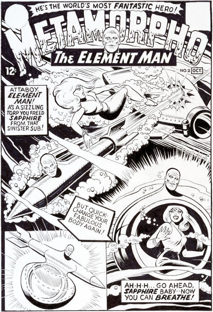 Metamorpho, The Element Man #2 original cover art by Ramona Fradon.
