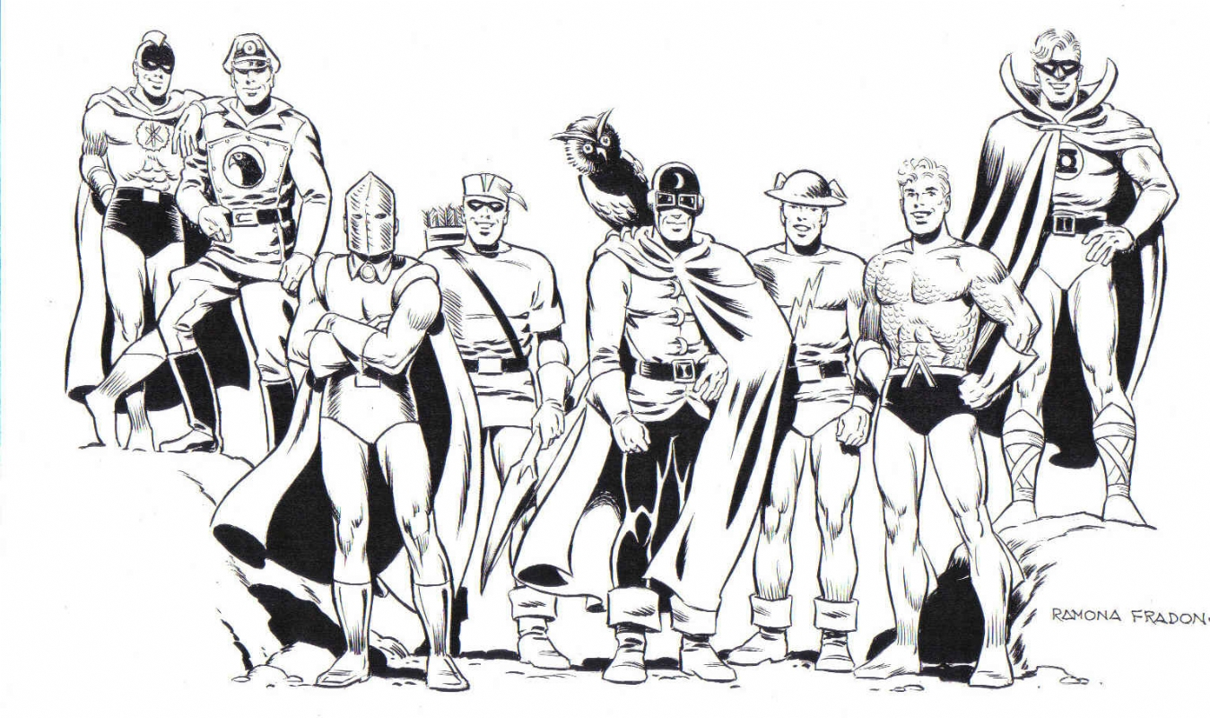 The Justice Society of America by Ramona Fradon.