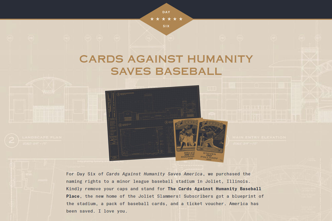The day 6 banner at  cardsagainsthumanitysavesamerica.com .