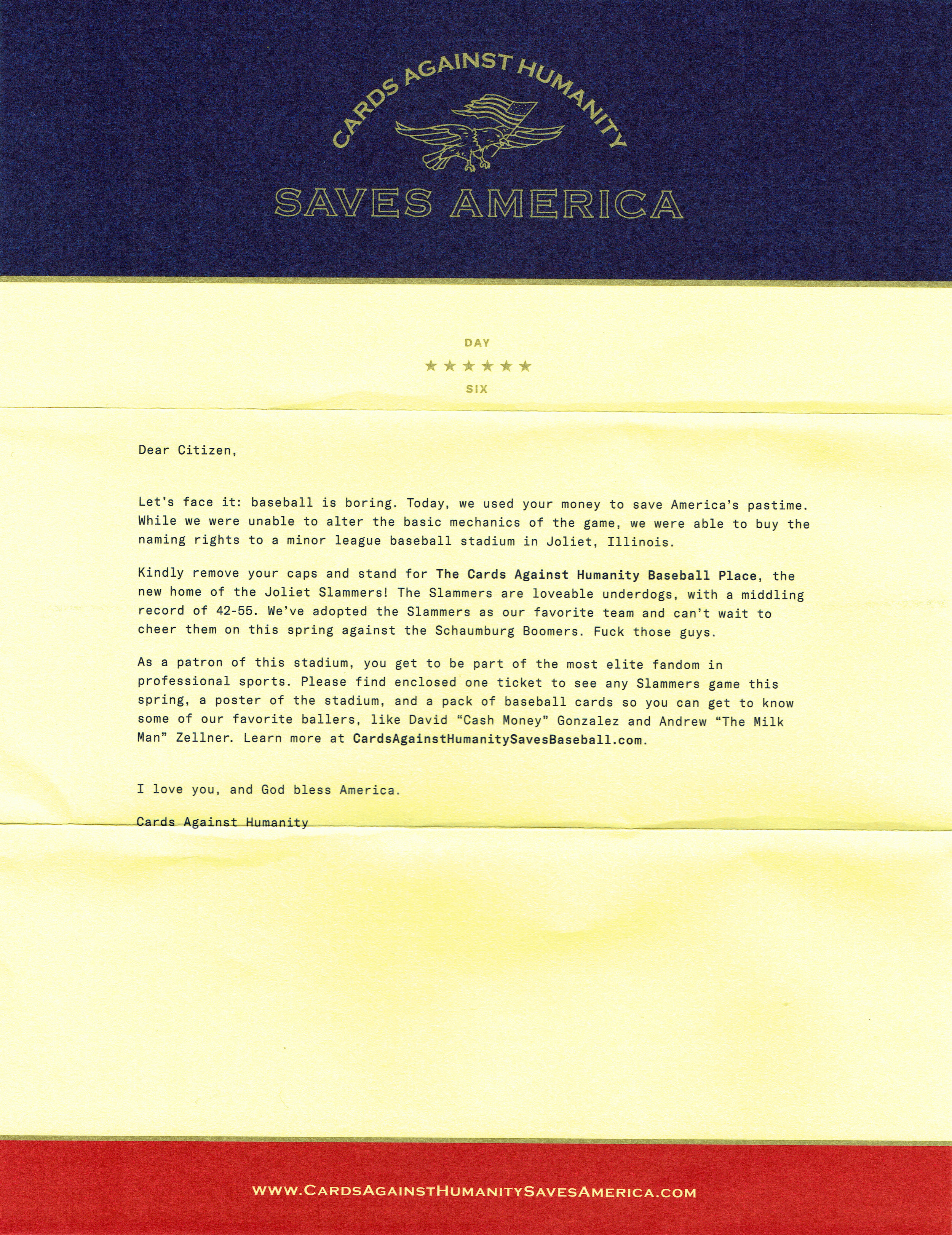 Cards Against Humanity Saves America Day 6 Cover Letter