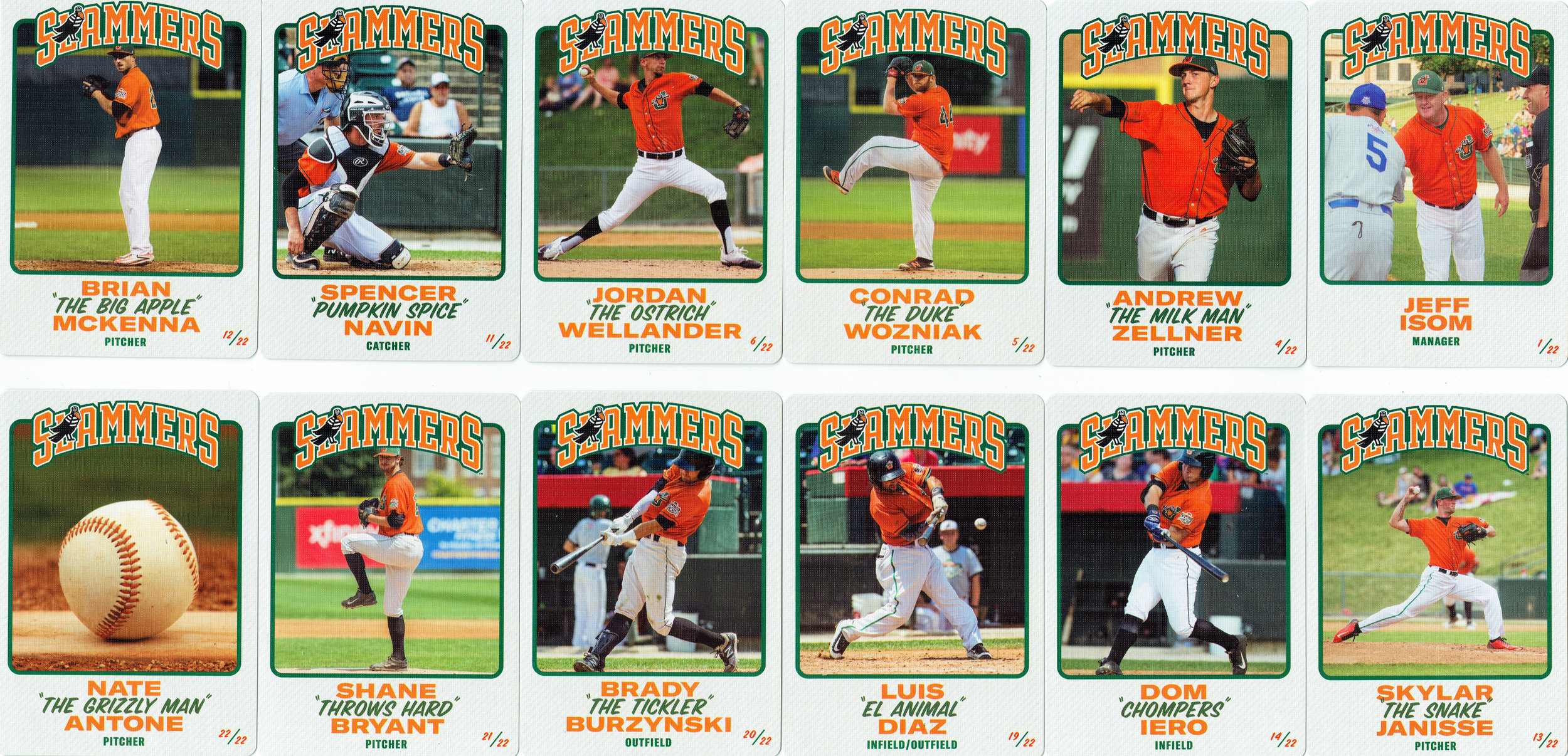 Joliet Slammers Baseball cards (fronts)