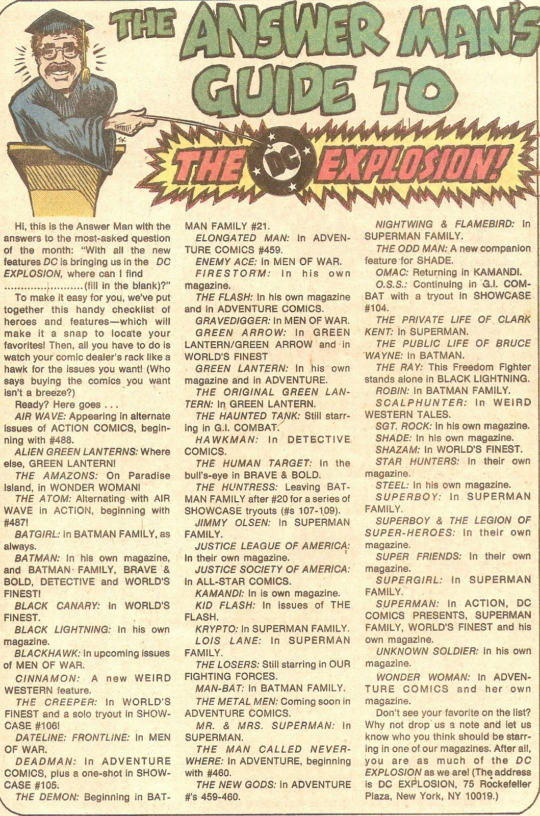 The Answer Man's Guide To the DC ExplosionTeen Titans #48, written by Bob Rozakis.