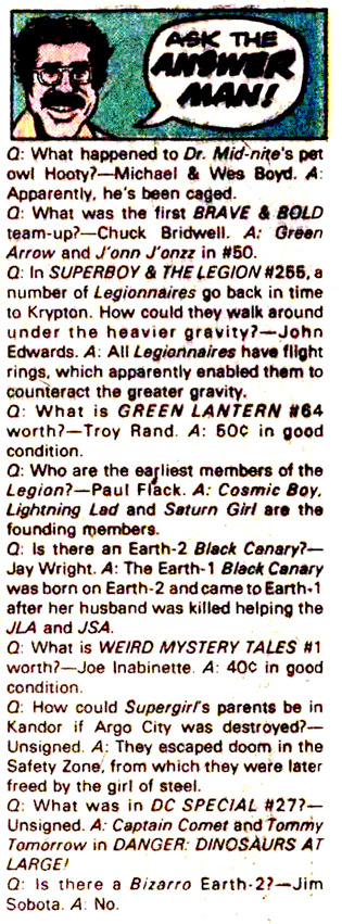 """An """"Ask the Answer Man"""" column from inside of a DC comic."""