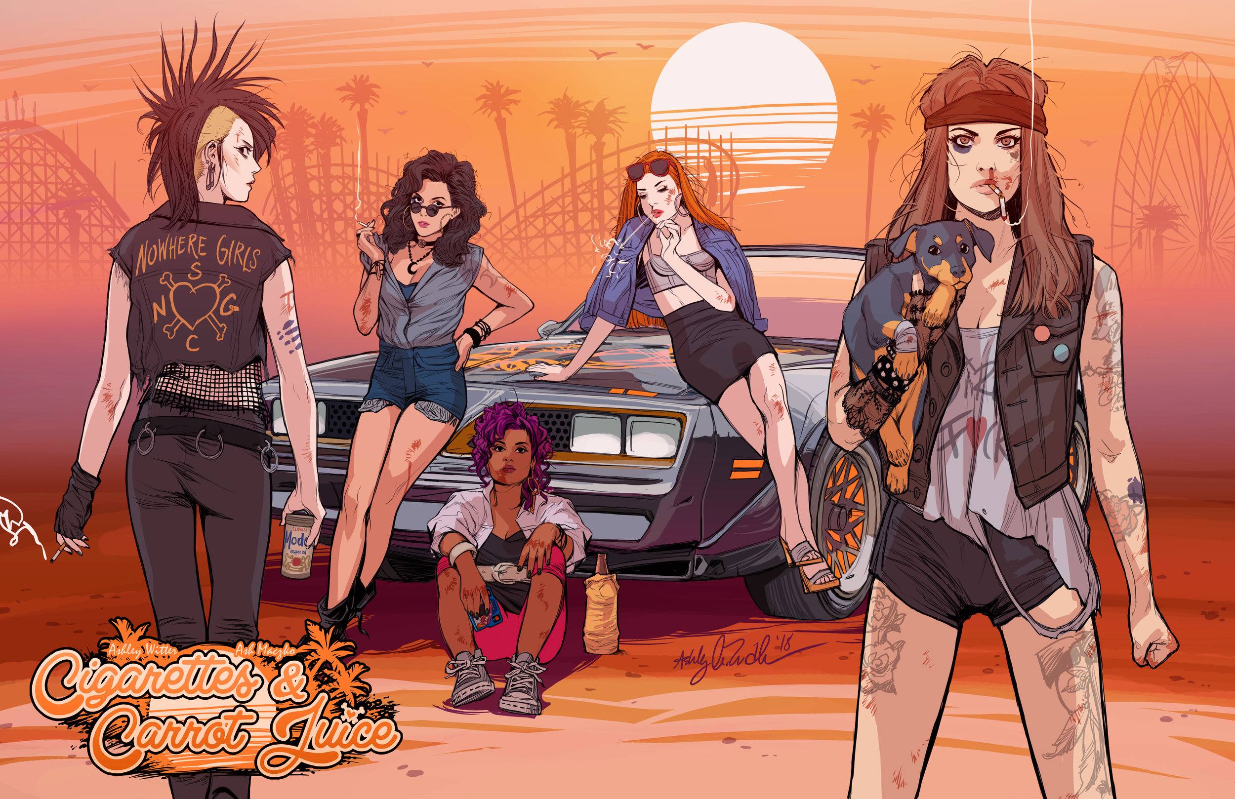 The Nowhere Girls -the stars of Cigarettes & Carrot Juice. Art by Ashley Witter.
