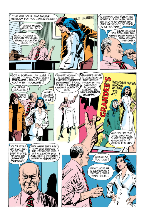 Wonder Woman #203 interior featuring Mr. Grandee, based on Carmine Infantino.