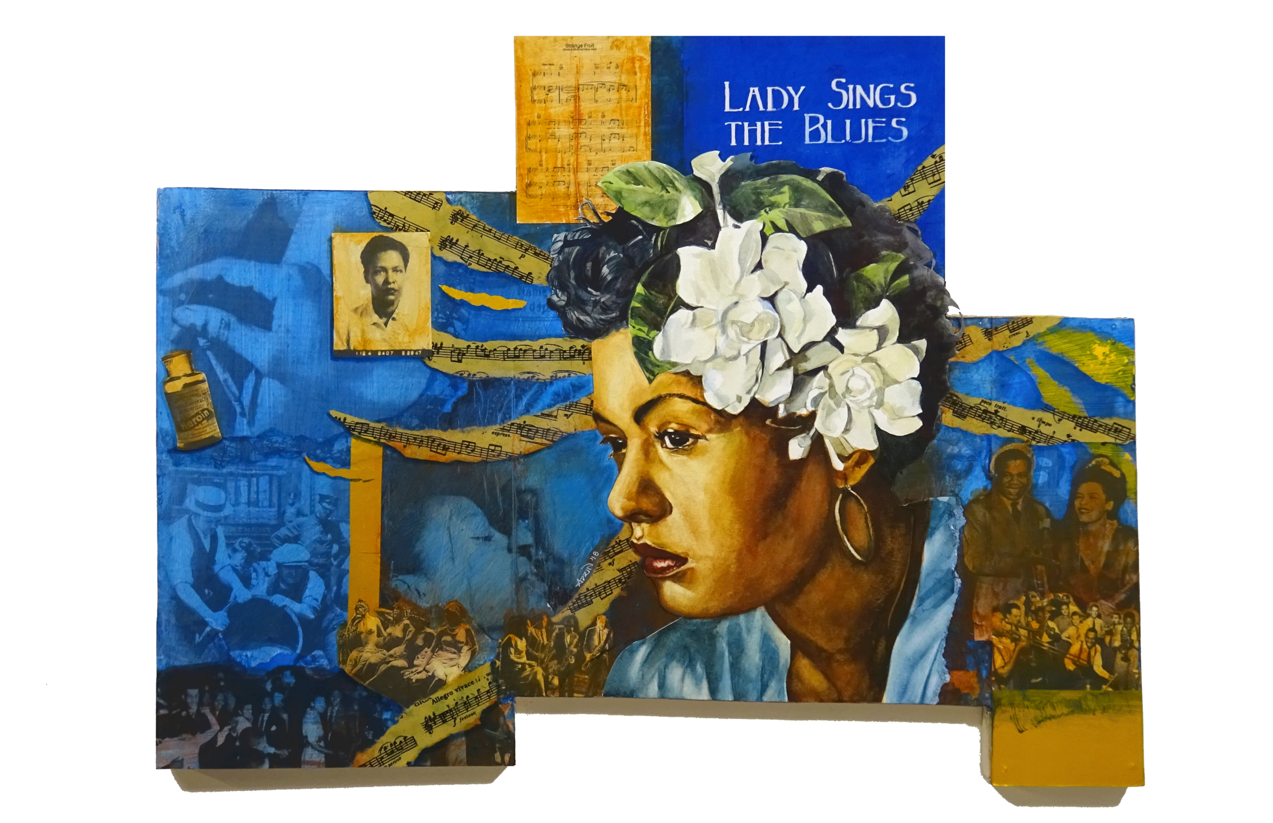 Billie Holiday - mixed media piece by Adrienne Norris.