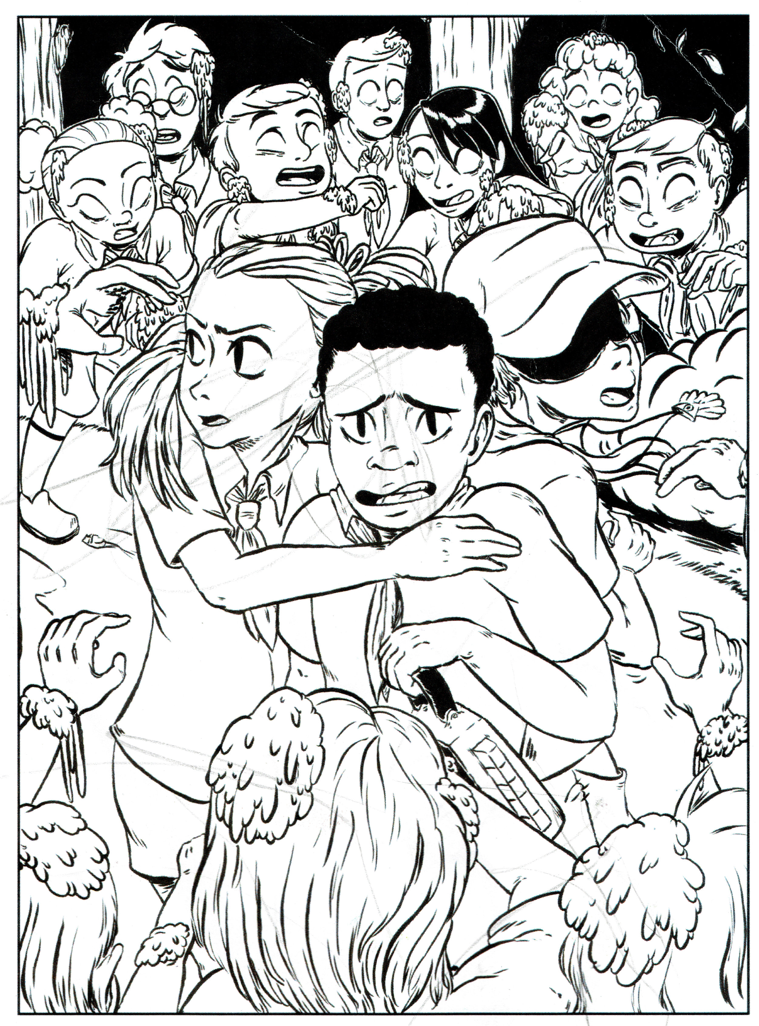 "A coloring sheet featuring the cover to the next issue of  Campfire Stories of Lake KikiPapi  - art by  Craig ""Pepper"" DeLuca ."