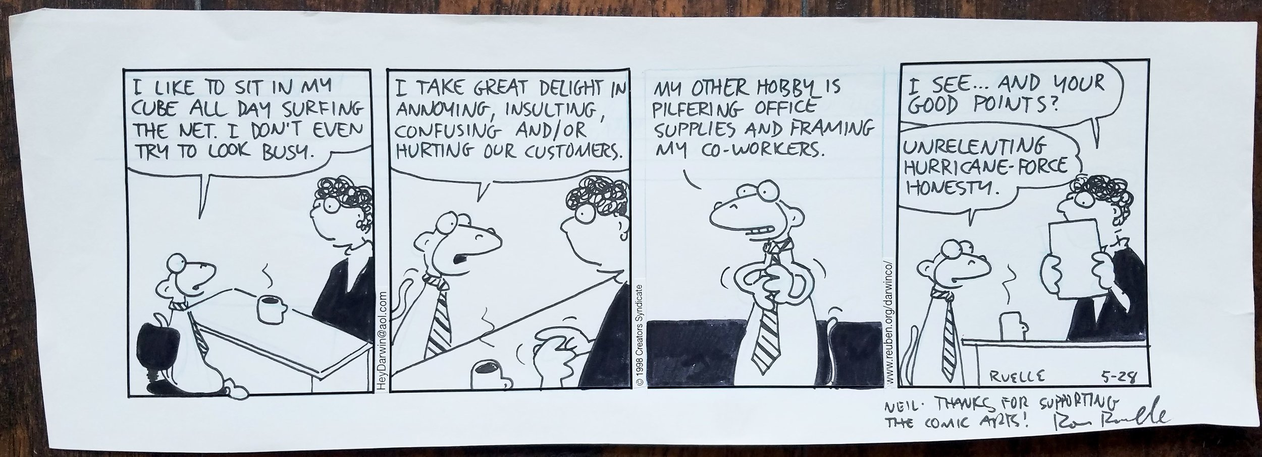 An original  At The Zü  comic strip from  Ron Ruelle .