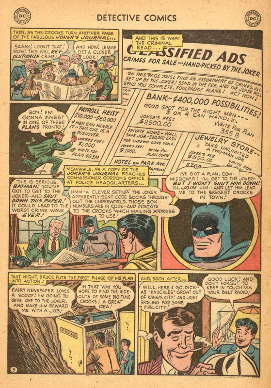 Detective Comics (1937) #193 interior 1, art by Lew Sayre Schwartz.