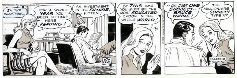 The Batman syndicated strip fro 12/6/1968, signed by  Bob Kane  in the first panel and  Plastino  &  Ellsworth  in the last.