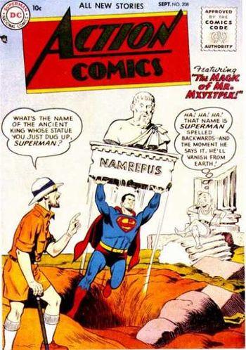 Action Comics (1938) #208, cover by Al Plastino.