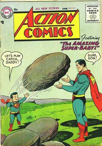 Action Comics (1938) #217, cover by Al Plastino.