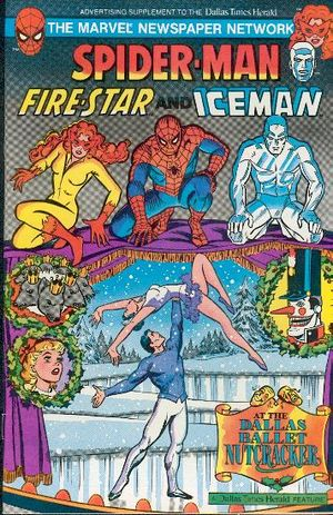 Spider-Man, Firestar, and Iceman at the Dallas Ballet - Nutcracker (1983) #1, cover by Jim Mooney.