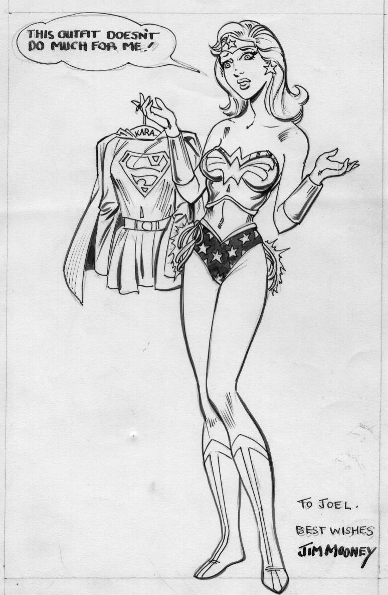 Supergirl in Wonder Woman's outfit. A commission done by Jim Mooney.
