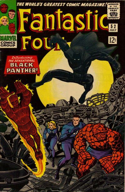 Fantastic Four #52 featured the first appearance of Black Panther, drawn by Jack Kirby.