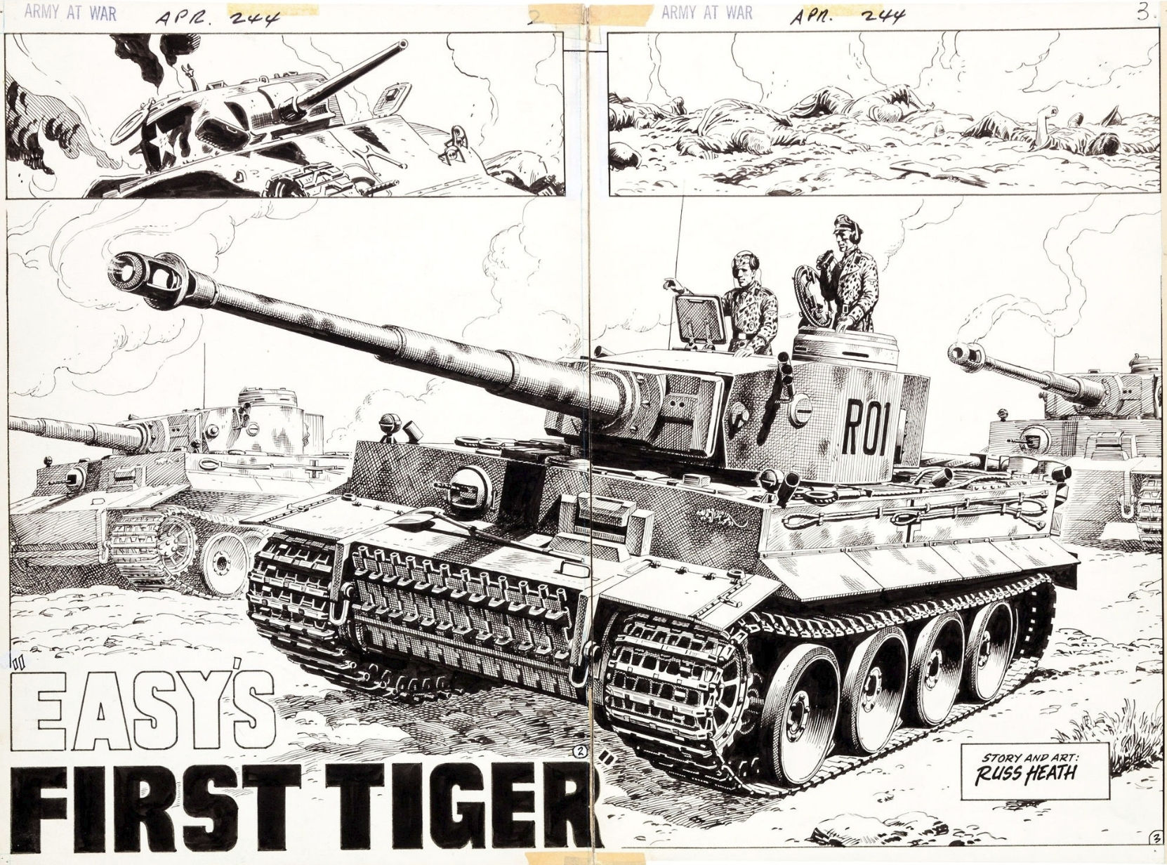 """The original art for """"Easy's First Tiger"""", from Our Army At War #244. Drawn by Russ Heath."""