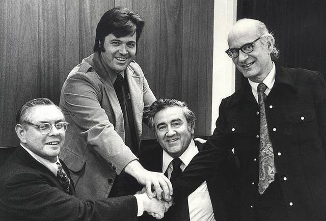 Joe Shuster, Neal Adams, Jerry Siegel, & Jerry Robinson - After the DC/Superman settlement.