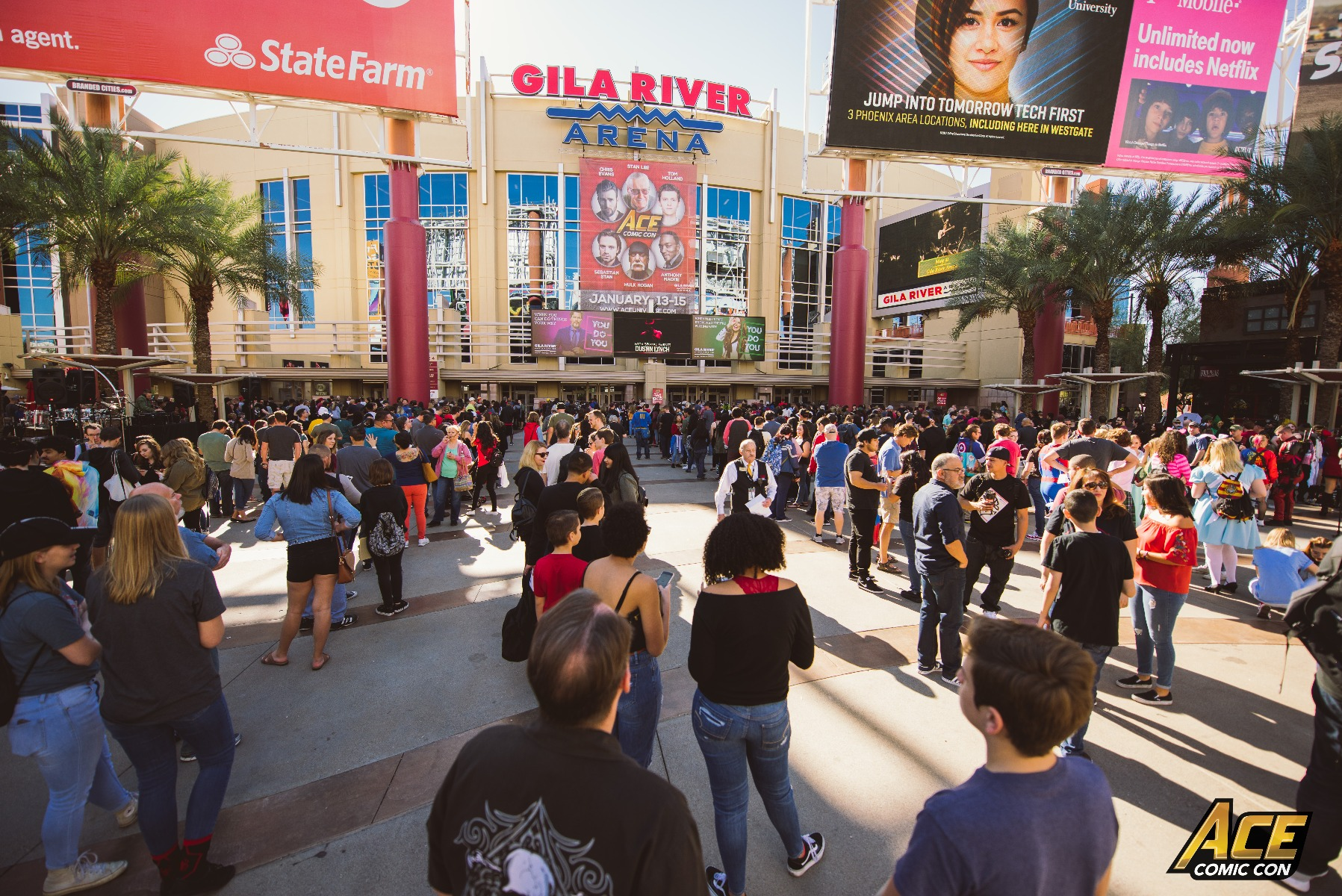 People waiting to get into Ace Comic Con AZ, at the Gila River Arena.