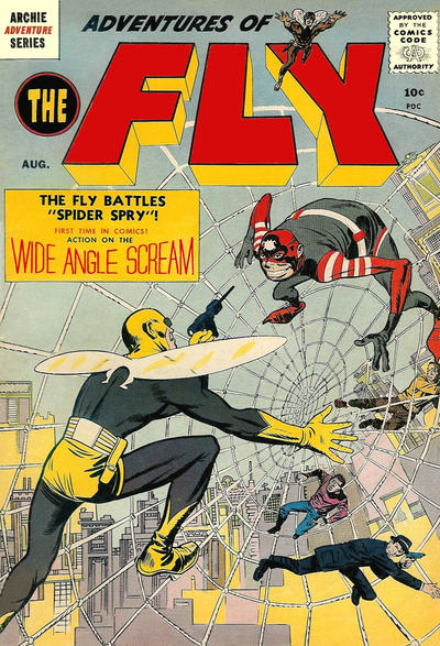 Adventures of The Fly (1959) #1, cover penciled by Jack Kirby &inked by Joe Simon.