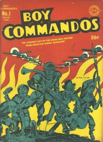 Boy Commandos (1942) #1, cover penciled by Jack Kirby &inked by Joe Simon.