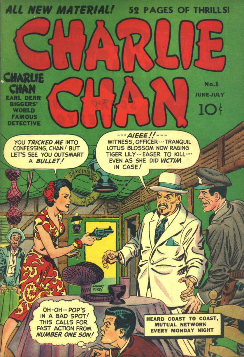 Charlie Chan (1948) #1, cover penciled by Jack Kirby &inked by Joe Simon.