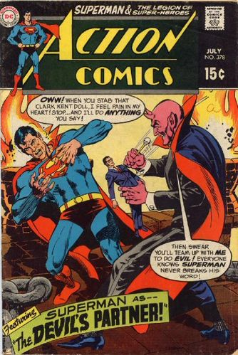 Action Comics (1938) #378, written by Jim Shooter, cover by Curt Swan.