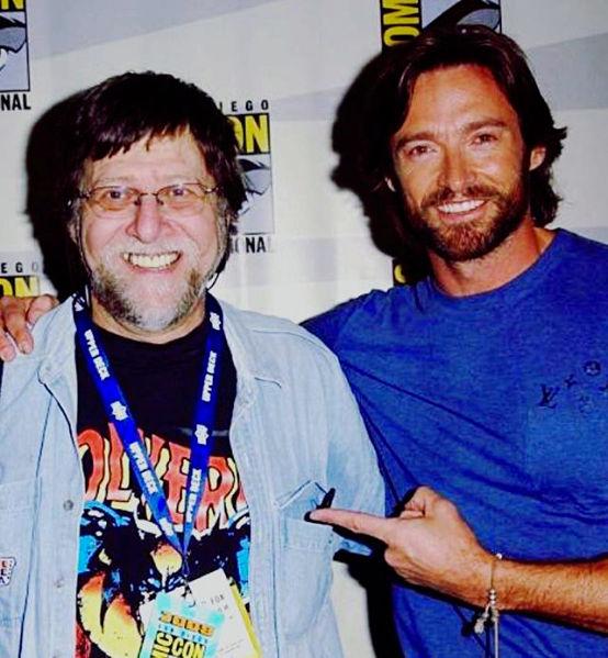 Len Wein meets Hugh Jackman in 2008.