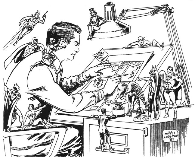A self-portrait drawn by Murphy Anderson in 1983.