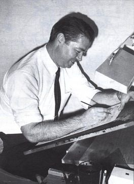 Murphy Anderson at his drawing table.