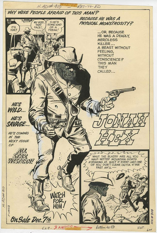 An ad for  Jonah Hex  appearing in  All-Star Western  from January 1972.