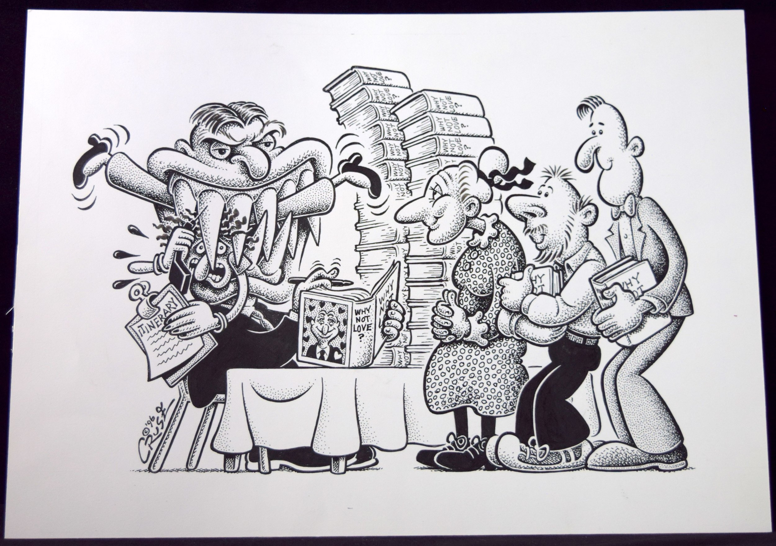 """""""Bad Temper on the Book Tour"""", original art from Howard Cruse."""