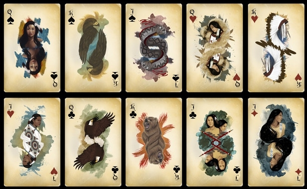Some of the card designs for the Lakota Playing Cards, from Kristina Maldonado-Bad Hand.