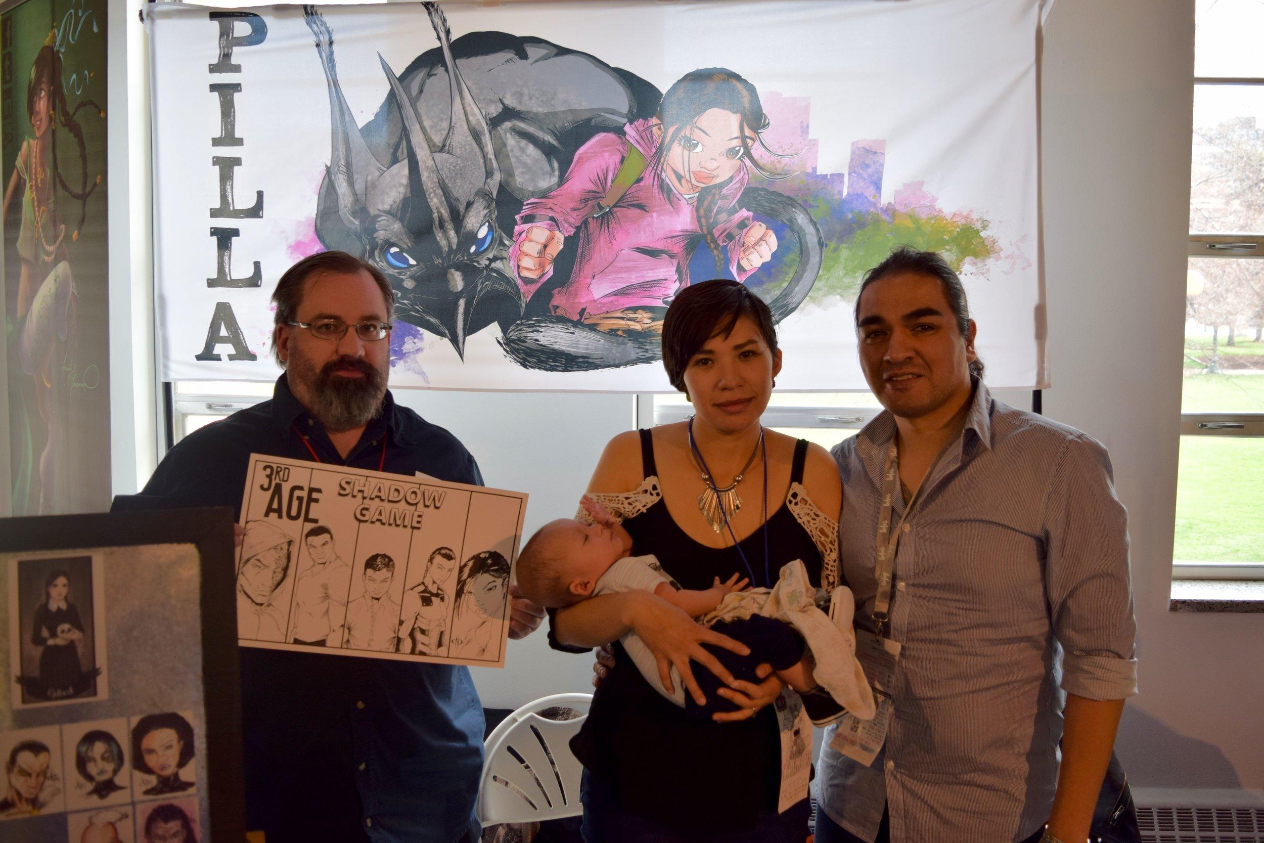 Kevin Butcher with Kristina, Koda, and Rafael Maldonado-Bad Hand at DINK 2018.